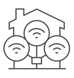 wifi connection in house thin line icon smart vector image