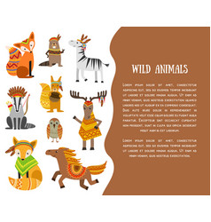 wild animals banner template with place for text vector image