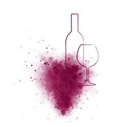 Wine bottle and glass with grunge grape vector