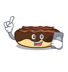 With phone maple bacon bar character cartoon vector