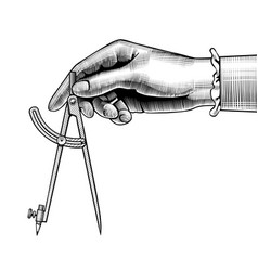 womans hand with a compass for drawing vector image
