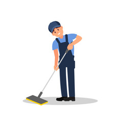 young man cleaning floor using plastic mop vector image