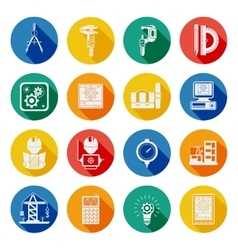 Engineer Flat Round Icons Set Shadow vector image vector image