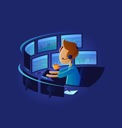 exchange trader in workplace vector image