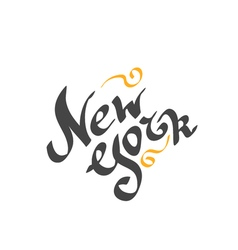 New York hand drawn bright text vector image vector image