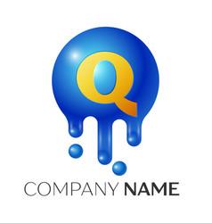 q letter splash logo blue dots and bubbles letter vector image