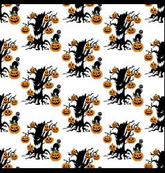 halloween evil tree pattern vector image vector image