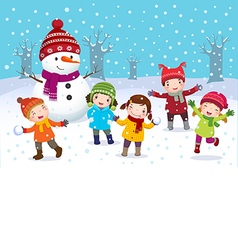 Kids playing outdoors in winter vector image vector image