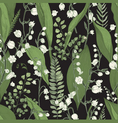 lily of the valley with fern seamless pattern vector image