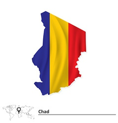 Map of Chad with flag vector image