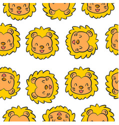 doodle style animal head cute vector image vector image