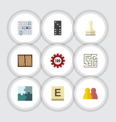 flat icon entertainment set of mahjong bones game vector image