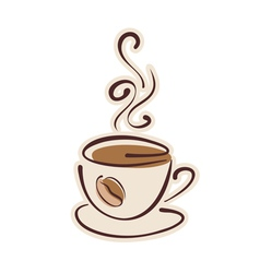 Cup of hot coffee and coffee bean vector image