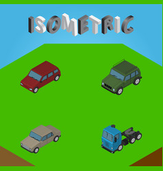 isometric transport set of truck armored car and vector image