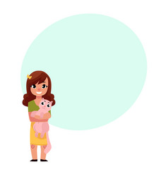little girl child kid standing holding a cat vector image