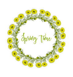 spring wreath with pheasant s eye flowers vector image vector image