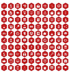 100 analytics icons hexagon red vector