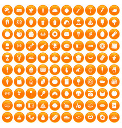 100 favorite food icons set orange vector image