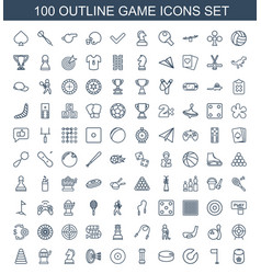 100 game icons vector