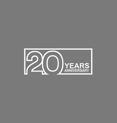 20 years anniversary logotype with white color vector