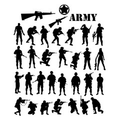 Army silhouettes vector