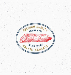 authentic quality salami vintage typography label vector image
