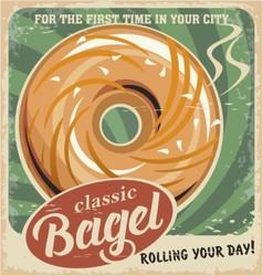 Bagel bakery vintage poster design vector