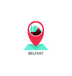 Belfast map pin skyline icon vector