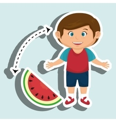 Boy cartoon sliced watermelon vector