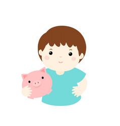Boy saving money hold piggy bank cartoon vector