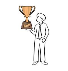 businessman holding big gold trophy vector image