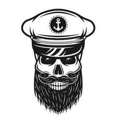 Captain skull in hat with beard vector