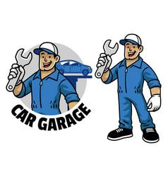 cartoon car mechanic worker mascot vector image