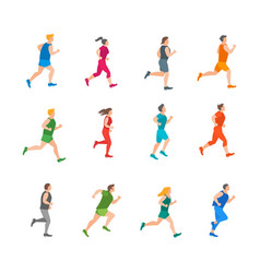 cartoon color jogging characters people set vector image