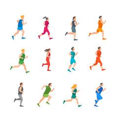 Cartoon color jogging characters people set vector