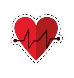 Cartoon heart beat pulse cardiac medical icon vector