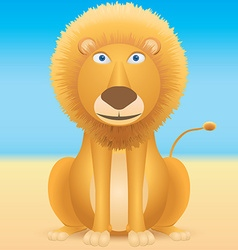 Cartoon lion sitting on blue background vector