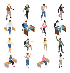 Casual city people icons set vector