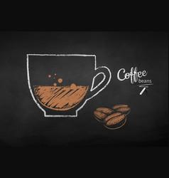 Chalk drawn coffee beans vector