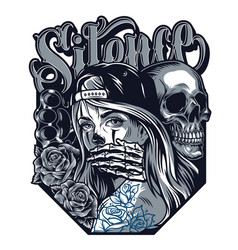 chicano tattoo style concept vector image