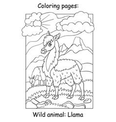 Children coloring book page llama vector