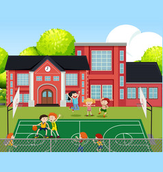 Children playing basketball scene vector