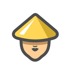 chinese girl in a hat icon cartoon vector image
