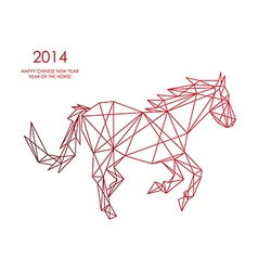 Chinese new year of the Horse triangle web shape vector image