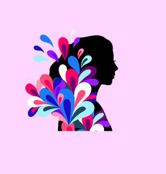 colorful teenager profile color elegant young vector image