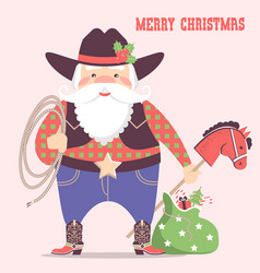 cowboy santa claus with western hat and holiday vector image