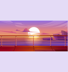 Cruise liner deck or quay on dusk seascape view vector