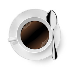 Cup of coffee on white vector