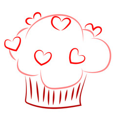 cupcake drawing on white background vector image