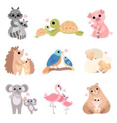 cute animal families set raccoon turtle pig vector image